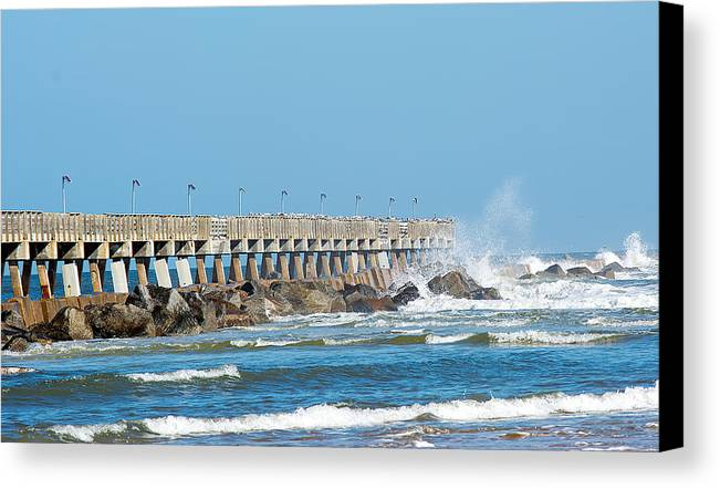 Nature Canvas Print featuring the photograph Pier Surf by Kenneth Albin