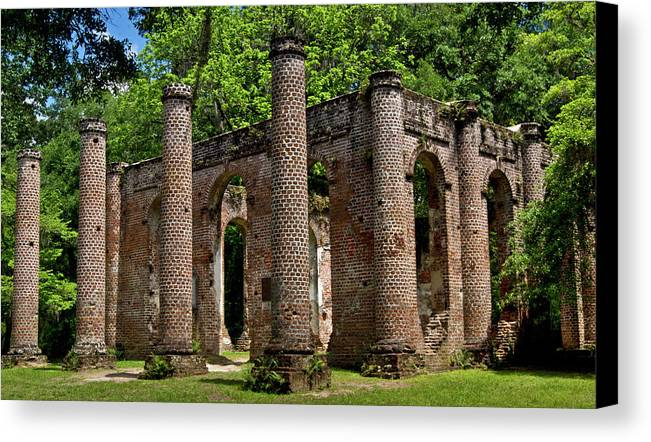 Old Sheldon Church Ruins Canvas Print featuring the photograph Pillars by Patrick Moore