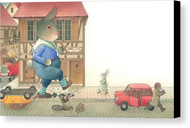Street Town Rabbit Animal Red Car Accident Love Canvas Print featuring the painting Rabbit Marcus The Great 19 by Kestutis Kasparavicius