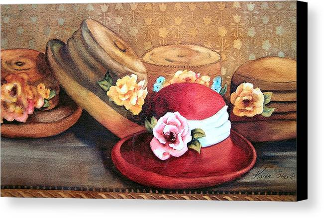 Hat Canvas Print featuring the painting Red Hat by Karen Stark