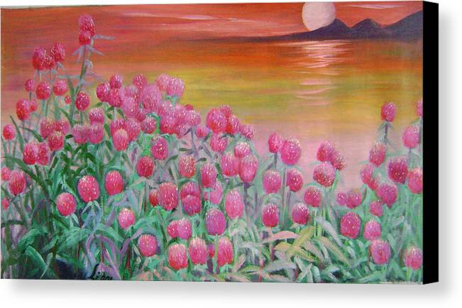 Floral Canvas Print featuring the painting Red Pearls by Lian Zhen