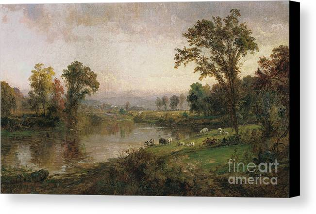 Riverscape - Early Autumn Canvas Print featuring the painting Riverscape In Early Autumn by Jasper Francis Cropsey