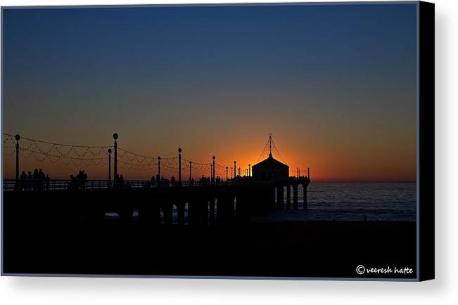 Sunset Canvas Print featuring the photograph Sunset And Silhouette by Veeresh Hatte