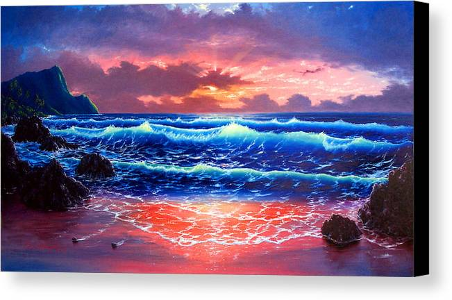 Sea Canvas Print featuring the painting Sunset by Daniel Bergren