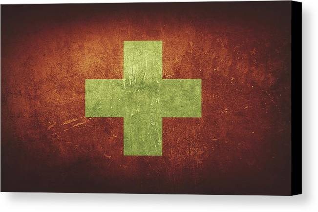 Switzerland Canvas Print featuring the painting Switzerland Distressed Flag Dehner by T Shirts R Us -