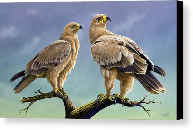 Kenya Canvas Print featuring the painting Tawny Eagles by Anthony Mwangi