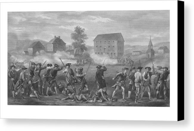 Minutemen Canvas Print featuring the drawing The Battle Of Lexington by War Is Hell Store