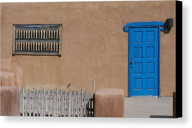 New Mexico Canvas Print featuring the photograph The Blue Door by Gary Cloud