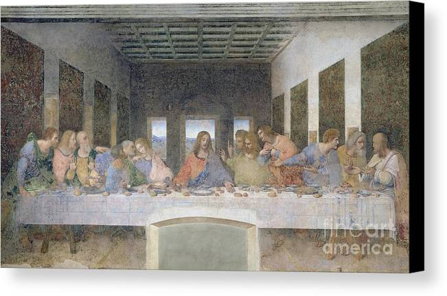 The Canvas Print featuring the painting The Last Supper by Leonardo da Vinci