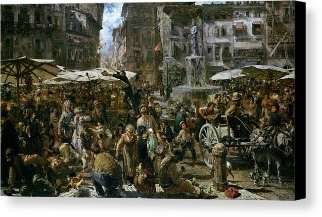 The Canvas Print featuring the painting The Market Of Verona by Adolph Friedrich Erdmann von Menzel