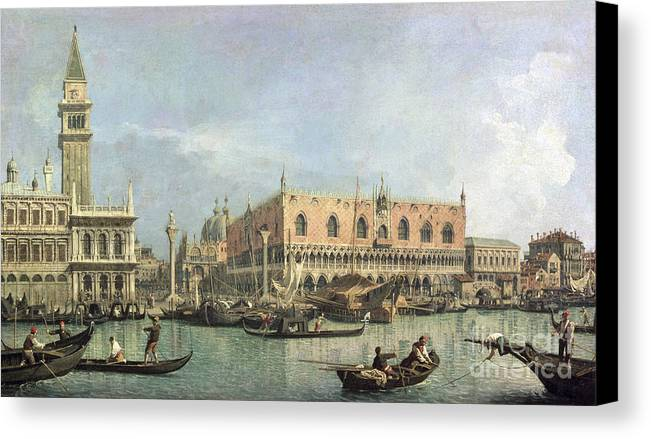 The Canvas Print featuring the painting The Molo And The Piazzetta San Marco by Canaletto