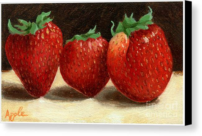 Fruit Artworkpainting Canvas Print featuring the painting The Three Graces by Linda Apple