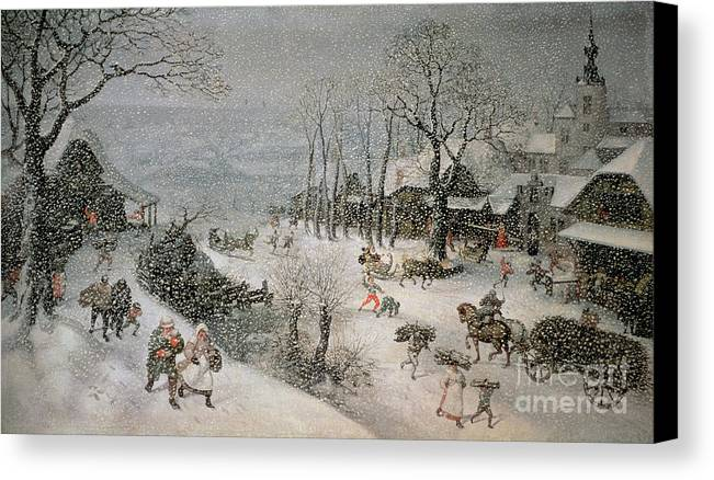 Snowy Canvas Print featuring the painting Winter by Lucas van Valckenborch