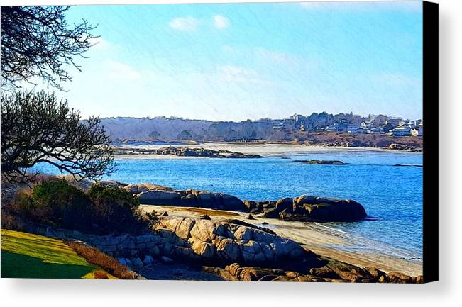 Blue Water Canvas Print featuring the photograph Winter Sun Along Annisquam River by Harriet Harding