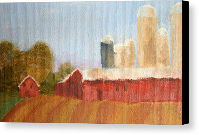 Wisconsin Canvas Print featuring the painting Wisconsin Farmland by Martha Layton Smith