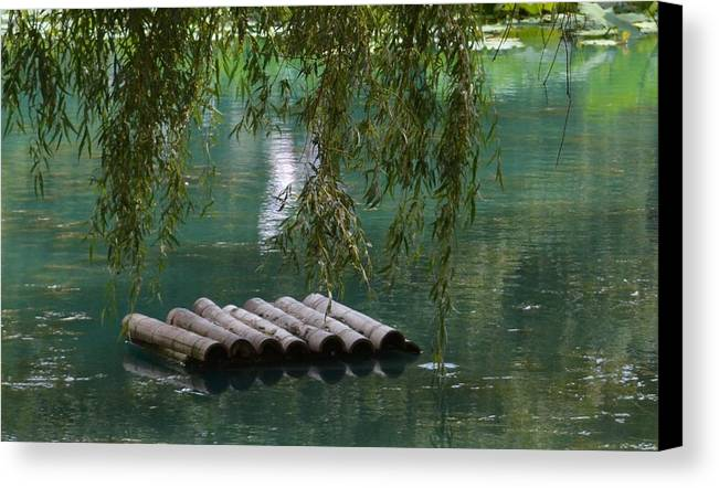 Floating Bamboo Canvas Print featuring the photograph Zen by Rosanne Ricard