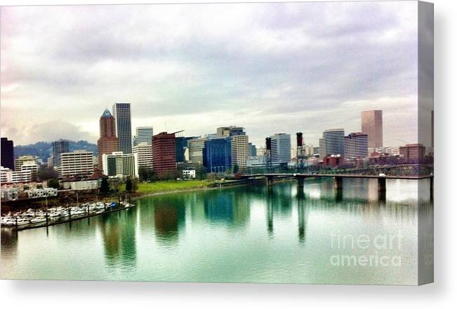 Portland Oregon Bridge And City Skyline View Canvas Print featuring the photograph City Of Roses by Susan Garren