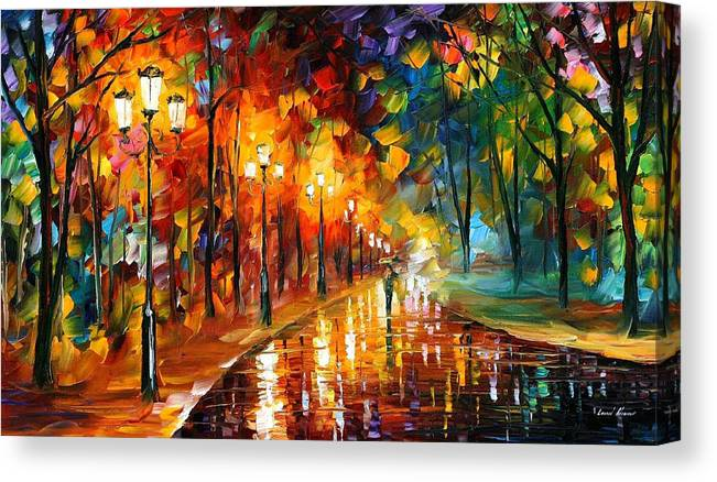Art Gallery Canvas Print featuring the painting Alley Of The Memories - Palette Knife Oil Painting On Canvas By Leonid Afremov by Leonid Afremov