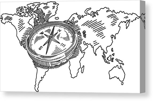 Compass With World Map Drawing Canvas Print