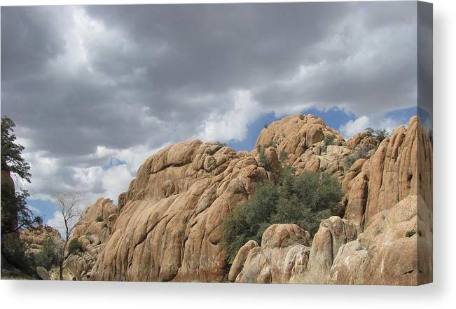 Mountain Clouds Rock Landscape Canvas Print featuring the photograph Formations by Susan Ince