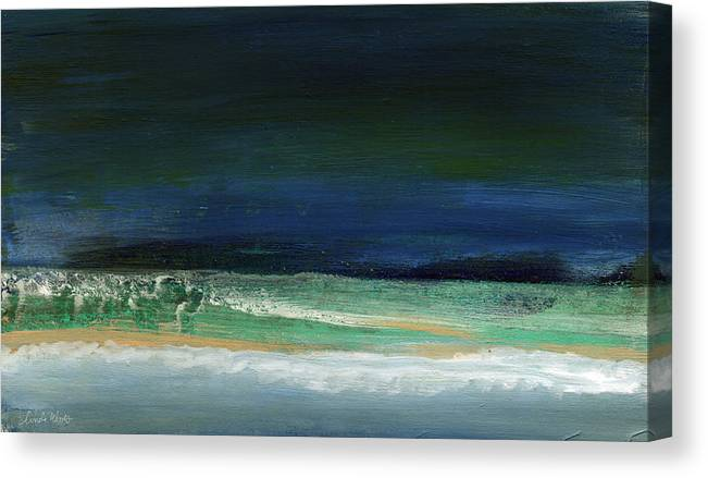 Ocean Canvas Print featuring the painting High Tide- Abstract Beachscape Painting by Linda Woods