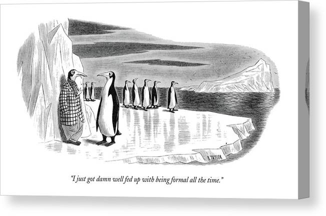 One Penguin Canvas Print featuring the drawing I Just Got Damn Well Fed Up With Being Formal All by Richard Taylor