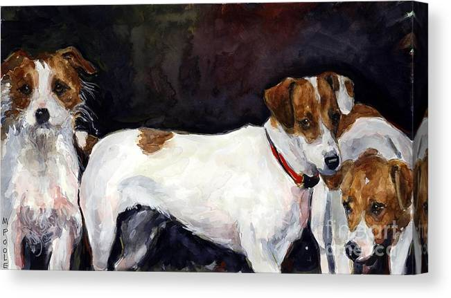 Jack Russell Terriers Canvas Print featuring the painting Jack Trio by Molly Poole
