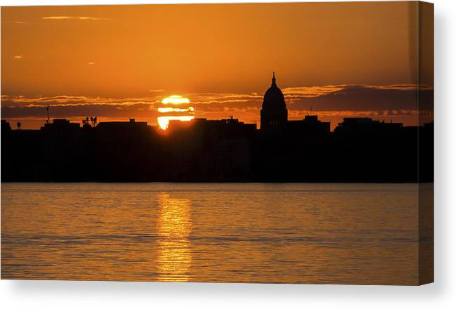 Capitol Canvas Print featuring the photograph Madison Sunset by Steven Ralser