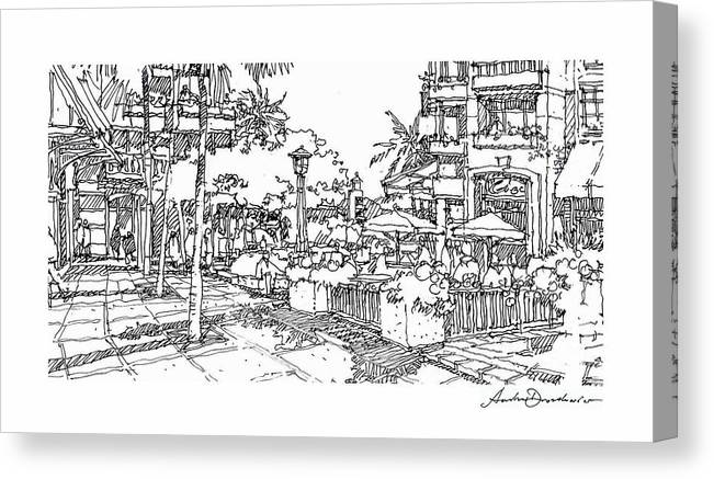 Plaza At Grand Cayman Resort Canvas Print featuring the drawing Plaza by Andrew Drozdowicz
