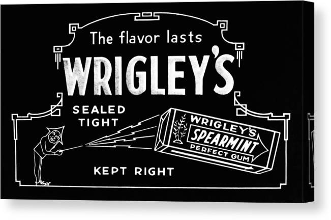 Wrigleys Canvas Print featuring the photograph Wrigleys Spearmint Gum by Bill Cannon