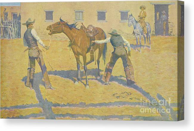 Frederic Remington Canvas Print featuring the painting His First Lesson by Frederic Remington