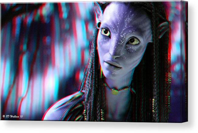 3d Canvas Print featuring the photograph Neytiri - Use Red And Cyan 3d Glasses by Brian Wallace