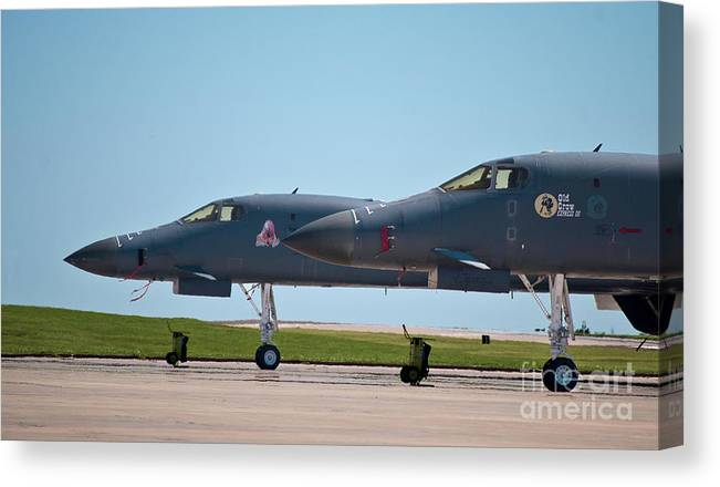 B-1 Canvas Print featuring the photograph Black Widow And Old Crow Express 3 by Steven Canan
