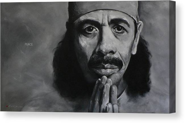 Figuritive Canvas Print featuring the painting Carlos Santana - Peace by Eddie Lim
