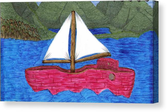 Canvas Print featuring the drawing Chinese Fishing Boat by Lynnette Jones