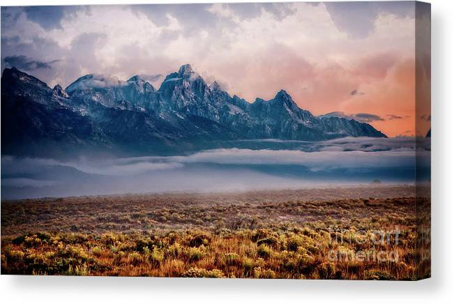 Grand Tetons Canvas Print featuring the photograph Daybreak by Scott Kemper