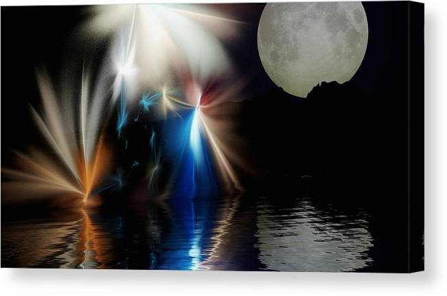 Digital Painting Canvas Print featuring the digital art Fairy's Moonlight Ball by David Lane