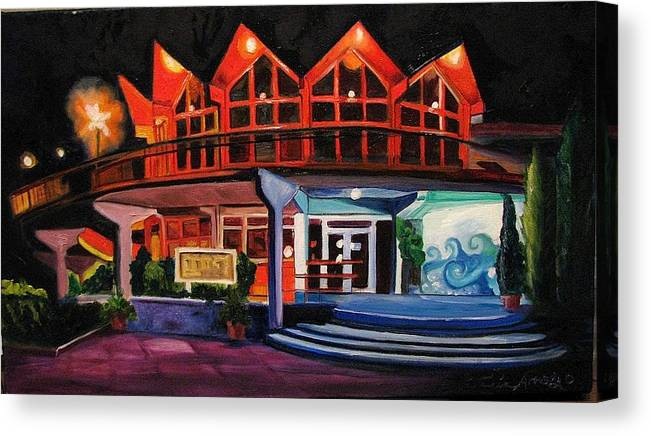 Asbury Art Canvas Print featuring the painting Howard Johnsons At Night by Patricia Arroyo