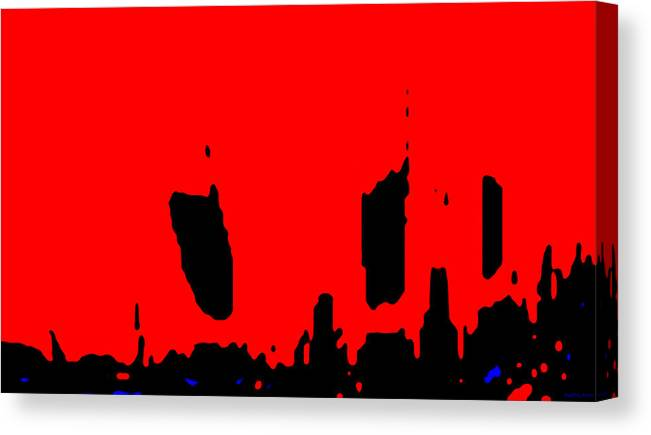 Aupre.com Hypermorphic Arthouse Unique Original Digital Art Made By The Hari Rama Canvas Print featuring the painting Sunset City by The Hari Rama