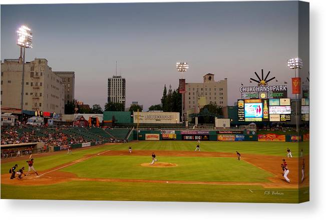 Chuckchansi Park Canvas Print featuring the photograph The Pitch by Kevin B Bohner