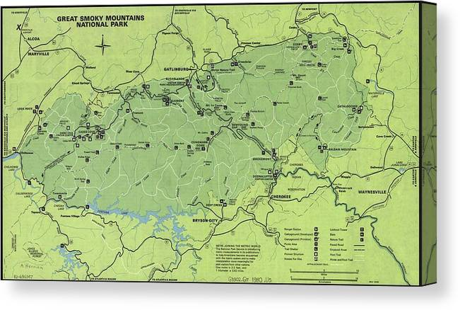 Vintage Smoky Mountains National Park Map Canvas Print on