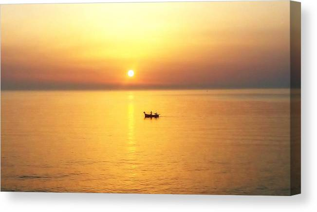 Landscape Canvas Print featuring the photograph Sunrise Over Banyuls by Ariaa Jaeger