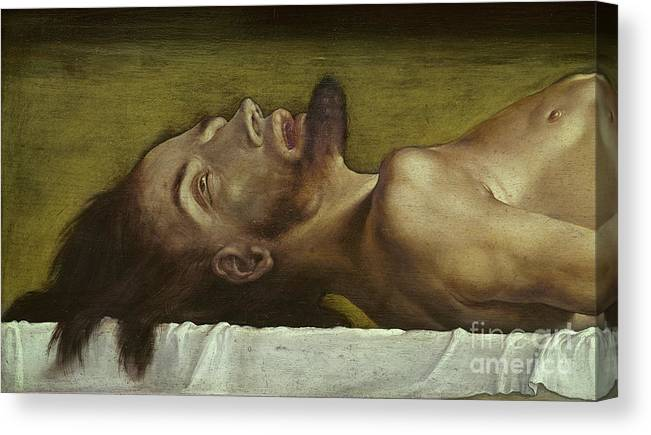 Jesus Canvas Print featuring the painting The Body Of The Dead Christ, Detail Of The Head, 1521 by Hans Holbein The Younger