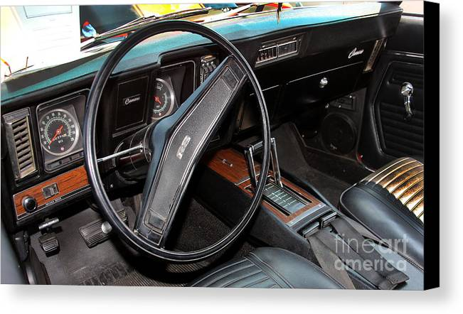 1969 Chevrolet Camaro Rs Canvas Print featuring the photograph 1969 Chevrolet Camaro Rs - Orange - Interior - 7601 by Gary Gingrich Galleries