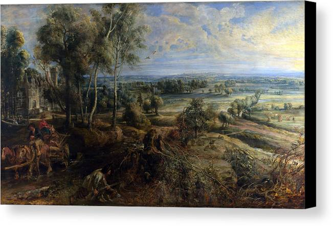 Peter Paul Rubens Canvas Print featuring the digital art A View Of Het Steen In The Early Morning by Peter Paul Rubens