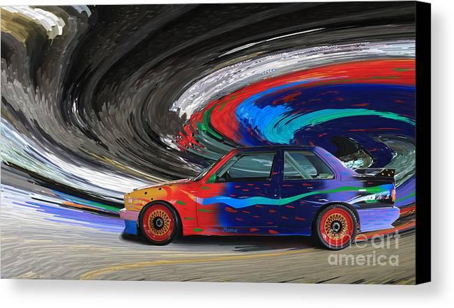 Bmw Canvas Print featuring the digital art Bmw M3 Art Car by Roger Lighterness