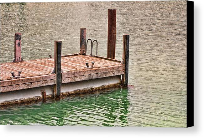 Foreign Canvas Print featuring the photograph End Of Small Pier by Linda Phelps