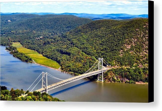 Sky Canvas Print featuring the photograph Bear Mountain Bridge by Art Dingo