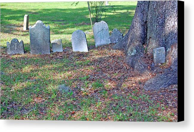 Grave Canvas Print featuring the photograph The Headstones Of Slaves by Suzanne Gaff