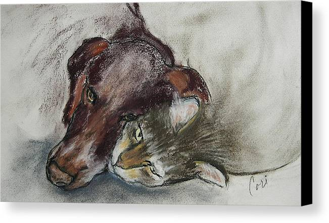 Dog Canvas Print featuring the drawing Whisker To Whisker by Cori Solomon